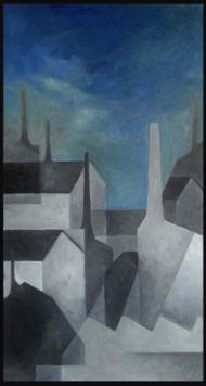 <p>Industristad i sommarnatt (privat) - oljefärg på masonit, 60 x 30 cm. 2014</p>