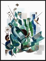 <p>Flaskan som föll (400 kr) - akvarell, guldfärg och tidningsurklipp på akvarellpapper, 22 x 32 cm. 2011.</p>