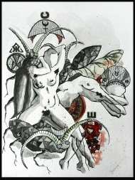 <p>H (privat) - akvarell, tusch och tidningsurklipp på akvarellpapper, 22 x 32 cm. 2012.</p>