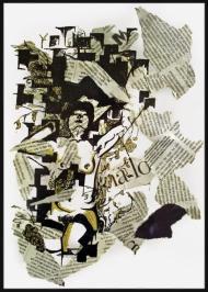 <p>Lo (200 kr) - tusch, guldfärg och tidningsurklipp på akvarellpapper, 29 x 21 cm. 2007.</p>