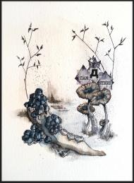 <p>Hösttänder - såld - akvarell och tidningsurklipp på akvarellpapper, 30 x 23 cm. 2014. </p>