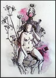 <p>Sommarsäng - (såld) - akvarell och tidningsurklipp på akvarellpapper, 29 x 21 cm. 2014. </p>