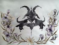 <p>Blå blommor - akvarell på akvarellpapper, 42 x 21 cm. 2015. 500 kr </p>
