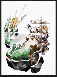 <p>Saga (200 kr) - akvarell och tidningsurklipp på akvarellpapper, 30 x 23 cm. 2011.</p>