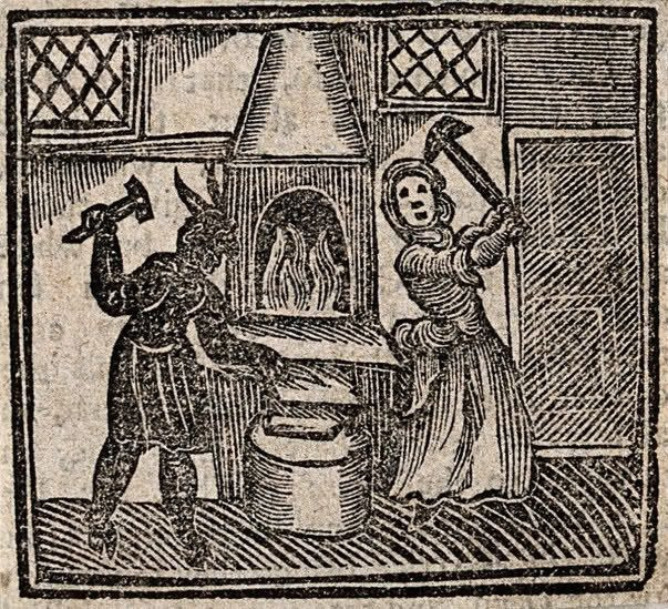 V0025812EBL Witchcraft: a witch and a devil making a nail with which to Credit: Wellcome Library, London. Wellcome Images images@wellcome.ac.uk http://images.wellcome.ac.uk Witchcraft: a witch and a devil making a nail with which to make a boy lame. Woodcut, 1720. 1720 Published: - Copyrighted work available under Creative Commons by-nc 2.0 UK, see http://images.wellcome.ac.uk/indexplus/page/Prices.html