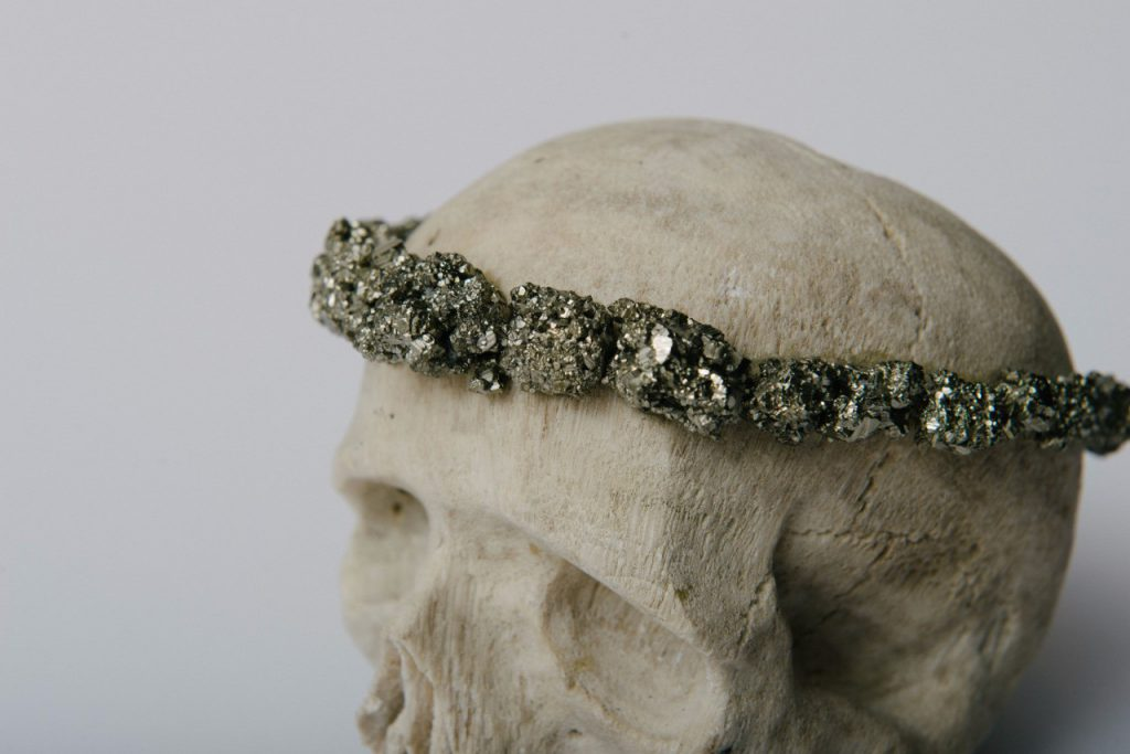 123326004391 - harpij carved coral skull with pyrite crown